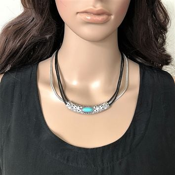 Tribal Etched Metal Silver and Black Necklace