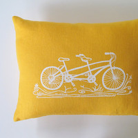 Pillow Cover Cushion Cover tandem bicycle on mustard yellow linen 12 x 16 inches