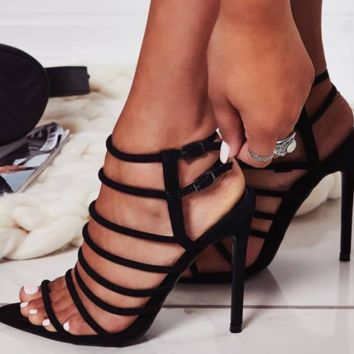 Hot style hot selling sexy all - around strap with buckle women's heels