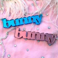 Pink or Blue Mirror Acrylic BUNNY Necklace by imyourpresent