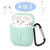 4In1 Anti Shock Silicone Charging Storage Case Pouch Box+Headphone Strap+Ear Cover Hooks+Carabiner For Apple AirPods For Earpods