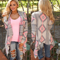 Retro Vintage Ethnic Tribal Knit Handkerchief Irregular Outerwear Cardigan Jacket 03- 80