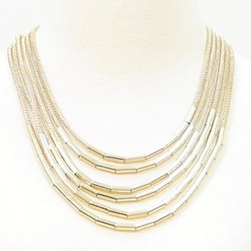 Six layers gold fashion necklace with matching earrings