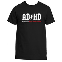 """""""AD/HD Highway to Hey Look a Squirrel"""" Funny AC/DC Pun T-Shirt"""