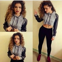 New Fashion Womens Casual Hooded Sweatshirt Pullover Crop Coat Outerwear Tops = 5698976321