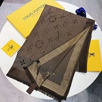 Louis Vuitton Fashion New print women silk kerchief cape scarf warm scarf Coffee