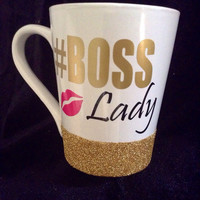 Boss Lady                                             14oz glitter dipped coffee mug