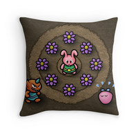 'Pink Link Bunny' Throw Pillow by likelikes