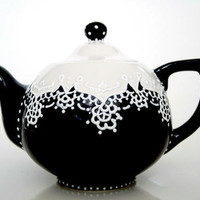 Teapot handpainted with lace dotting by Dprintsclayful on Etsy