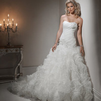 2012 Maggie Sottero Bridal - Ivory Ruched & Ruffled Organza Drop Waist Strapless Clemence Wedding Gown - 0 - 28 - Unique Vintage - Cocktail, Evening & Pinup Dresses