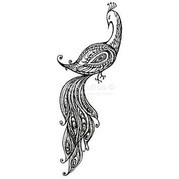 Paisley Peacock Waterproof Temporary Tattoos Lasts 3 to 4 days Choose Small, Medium or Large Sizes