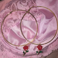 90's Babe Red Rose Faux Gold Hoops