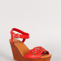 Bamboo Leatherette Cut Out Faux Wood Open Toe Platform Wedge