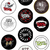 """Set of 10 High Quality 1.25"""" My Chemical Romance Pinback Buttons / Pins Free Shipping"""