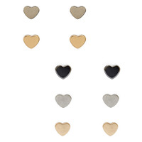 FOREVER 21 Flat Heart Stud Set Gold/Silver One
