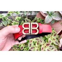 Balenciaga personality female double B letter buckle thin belt red