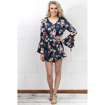Ruffled Long Bell Sleeve Satin Floral Romper {Dusty Teal}