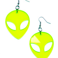 Suzywan Deluxe Alien Earrings Neon Green