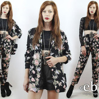 Vintage 90s Black Floral Oversized Blazer + High Waisted Pants Outfit S M L Matching Set Two Piece Set Two Piece Outfit Floral Blazer