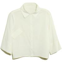 ROMWE | Cropped Length Point Collar White Shirt, The Latest Street Fashion