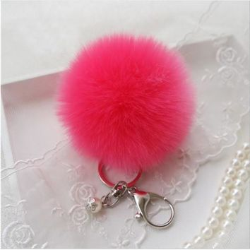BEADY FUR POM BALLS KEYCHAIN or BAG CHARM - WATERMELON PINK