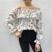 Slash Neck Floral Blouse Shirts for Women Summer  Butterfly Sleeves Chiffon Shirts Female Strapless Chic Tops 33056 SM6