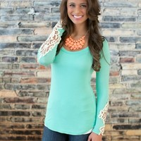 All I Need Lace Sleeve Blouse Mint
