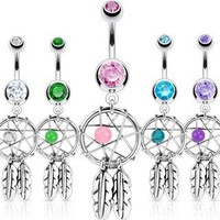 Stainless Steel Dream Catcher Woven Star Design with Bead and Feathers Fancy Belly Ring; Comes With Free Gift Box (Aqua)