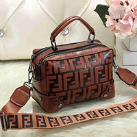 FENDI Women Fashion Leather Crossbody Handbag Tote Shoulder Bag Satchel