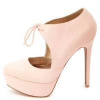 Tied Mary Jane Platform Pumps by Charlotte Russe - Blush