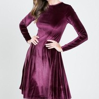 Lap of Luxury Velvet Dress - Mulberry !