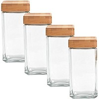 Anchor Hocking 4 Pack, 2Qt Airtight Glass Jars Set With Bamboo Lids Stackable Food Storage Containers Saver