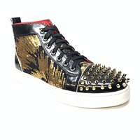 Fiesso Black Gold Sequin Spiked High-top Sneakers