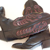 Vintage Black and Pink Cowgirl Boots by TheTravelingOwlShop