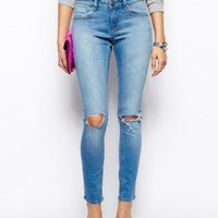 ASOS Whitby Low Rise Skinny Jeans in Watercolour Light Wash Blue with