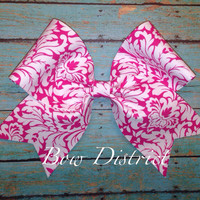 """3"""" Pink and White Damask Cheer Bow"""