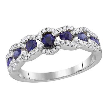 18k White Gold Round Blue Sapphire Diamond Band Ring 7/8 Cttw