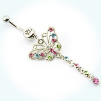 Surgical Steel 14g Butterfly Dangle Crystal Navel Ring Belly Button Barbell Stud Piercing +1 Retainer
