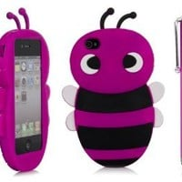 iSee Case (TM) 3D Cartoon Bumble Bee Silicone Full Cover Case for Apple iPhone 4 4S (4-Bee+Stylus) (Hot Pink)