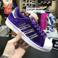 """""""ADIDAS"""" Trending Fashion Casual Sports Shoes Purple golden line"""