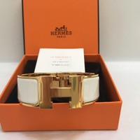 NEW HERMES Clic Clac H wide PM white enamel gold hardware bracelet with box Tagre™