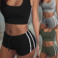 Two Piece Set Women Tracksuit Sports Sleeveless Crop Top Top Shorts Women Work Out Gym Fitness 2pcs Women Set Outfits