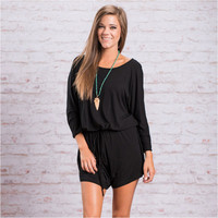 Long Sleeve Drawstring Waist Back Cut Out Rompers