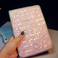 Pink Crystal Bling Stand Leather Cover Cover for ipad Pro , case  for ipad Air 1 2, for ipad  mini