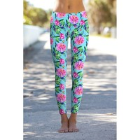 Peony Splash Lucy Blue Floral Print Performance Yoga Leggings - Women