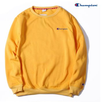 Champion Embroidery round collar sweater thickening sweater Yellow