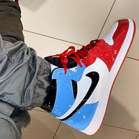 NIKE AIR JORDAN 1 MID AJ 1 classic color block high-top sneakers Shoes Red&White&Blue