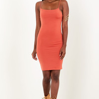 Sorella Skinny Strap Mini Dress Rust