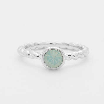 Rhodium Rope Ring - Opal