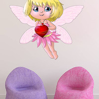 kcik180 Full Color Wall decal Elf forest fairy love heart children's bedroom